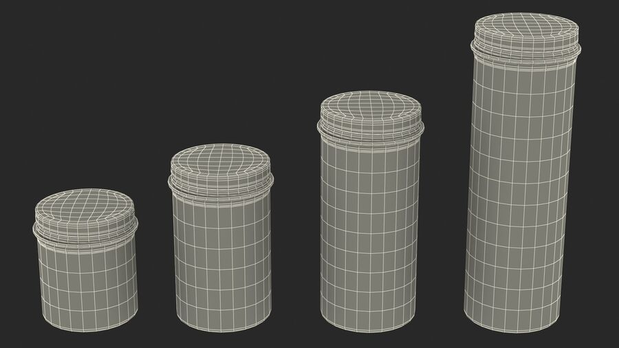Kitchen Storage Glass Jar with Steel Lid Set royalty-free 3d model - Preview no. 23