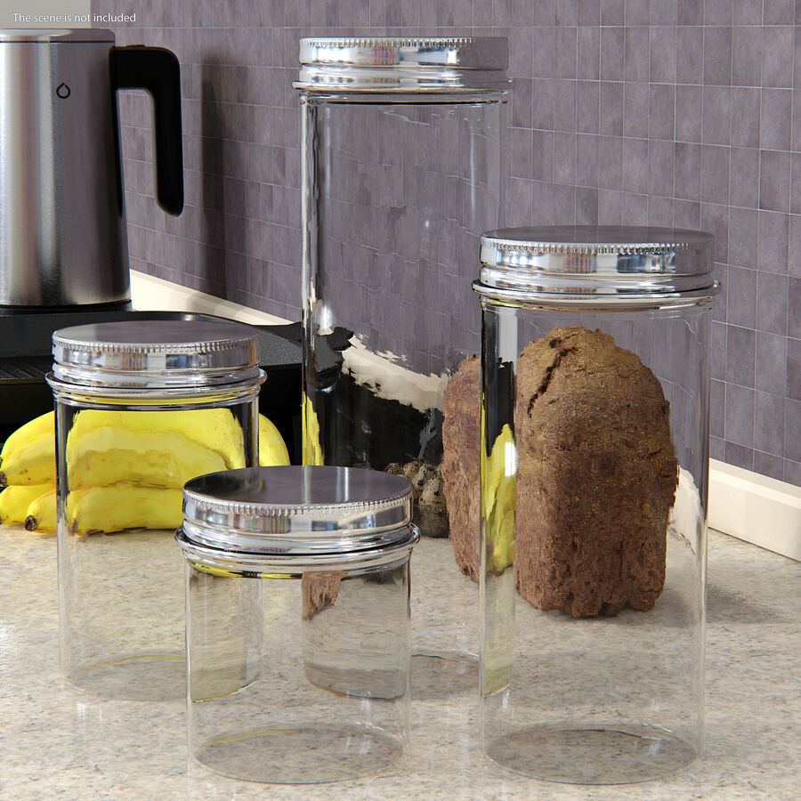 Kitchen Storage Glass Jar with Steel Lid Set royalty-free 3d model - Preview no. 3