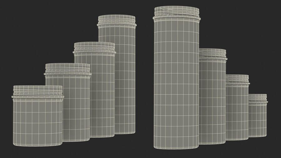 Kitchen Storage Glass Jar with Steel Lid Set royalty-free 3d model - Preview no. 25