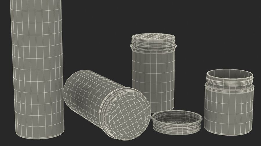Kitchen Storage Glass Jar with Steel Lid Set royalty-free 3d model - Preview no. 26