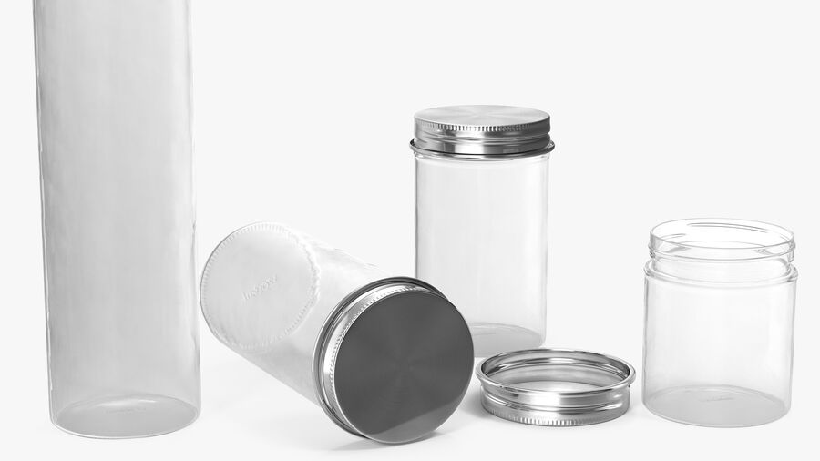 Kitchen Storage Glass Jar with Steel Lid Set royalty-free 3d model - Preview no. 6