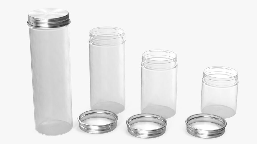 Kitchen Storage Glass Jar with Steel Lid Set royalty-free 3d model - Preview no. 5