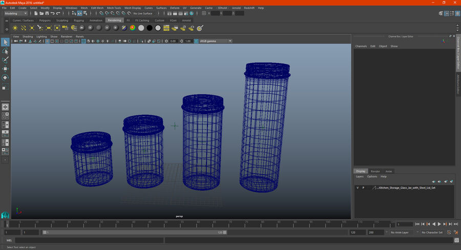 Kitchen Storage Glass Jar with Steel Lid Set royalty-free 3d model - Preview no. 20