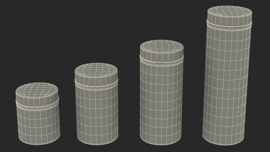 Glass Storage Jar with Steel Lid Set royalty-free 3d model - Preview no. 22