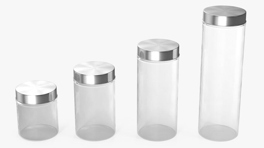 Glass Storage Jar with Steel Lid Set royalty-free 3d model - Preview no. 2