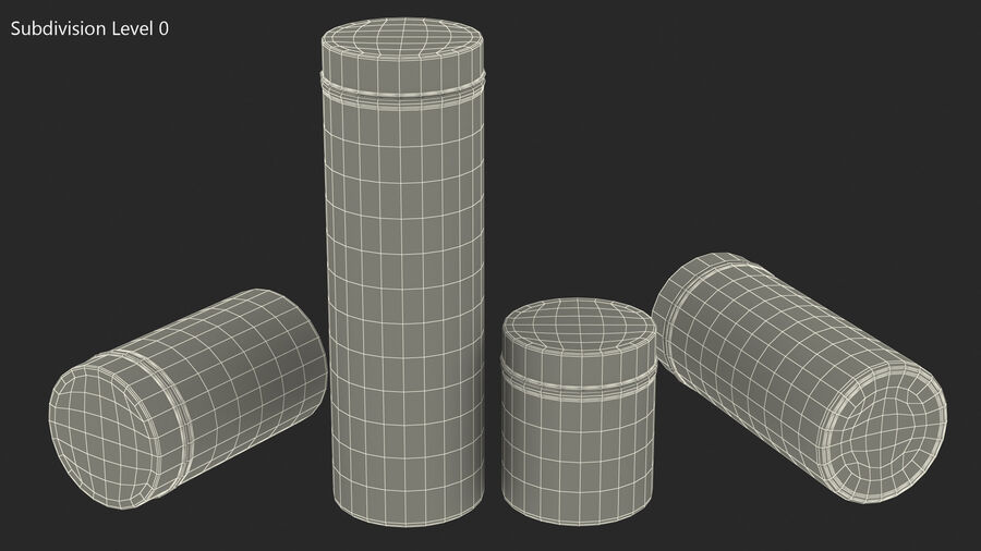Glass Storage Jar with Steel Lid Set royalty-free 3d model - Preview no. 13