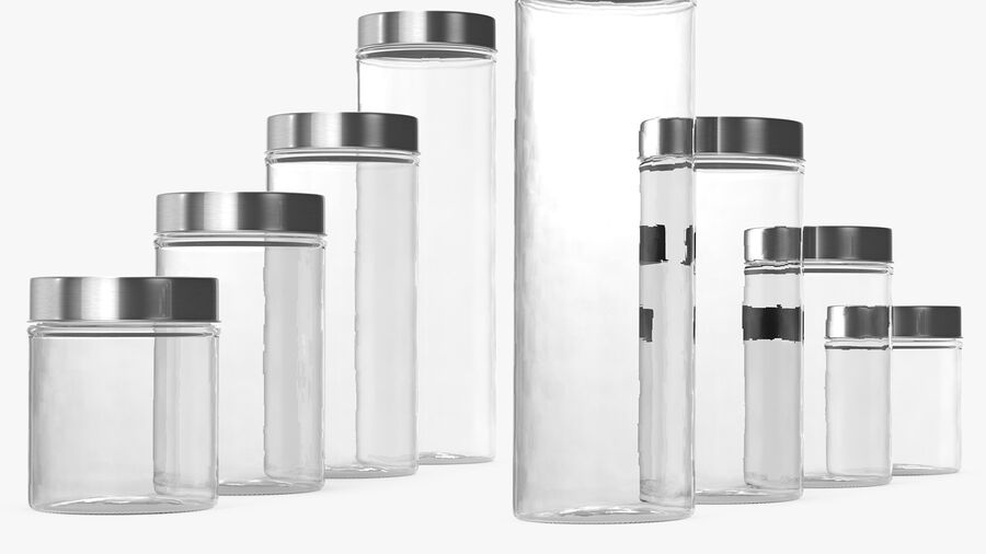 Glass Storage Jar with Steel Lid Set royalty-free 3d model - Preview no. 8