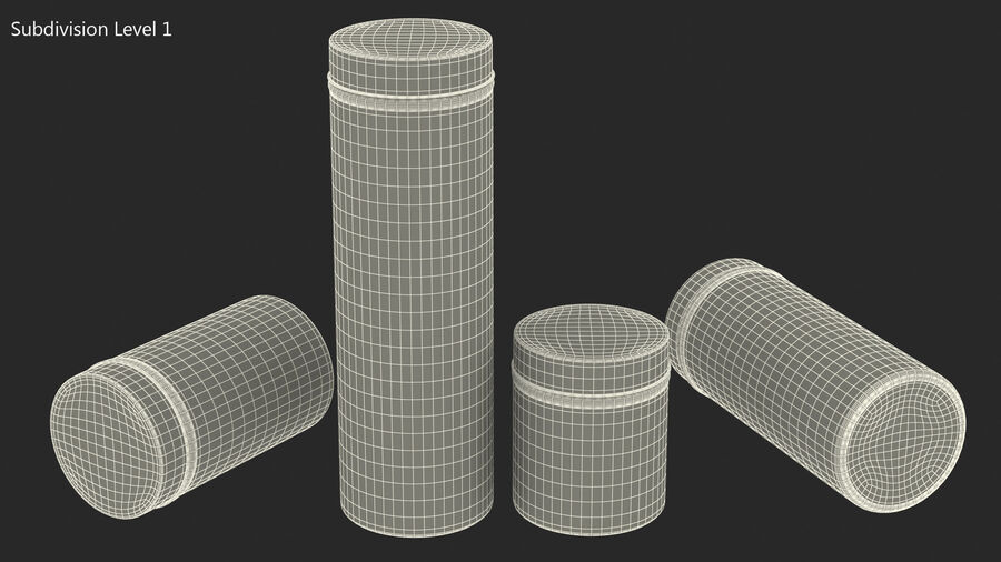 Glass Storage Jar with Steel Lid Set royalty-free 3d model - Preview no. 14
