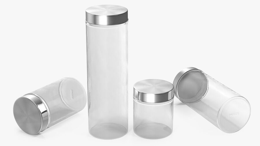 Glass Storage Jar with Steel Lid Set royalty-free 3d model - Preview no. 4