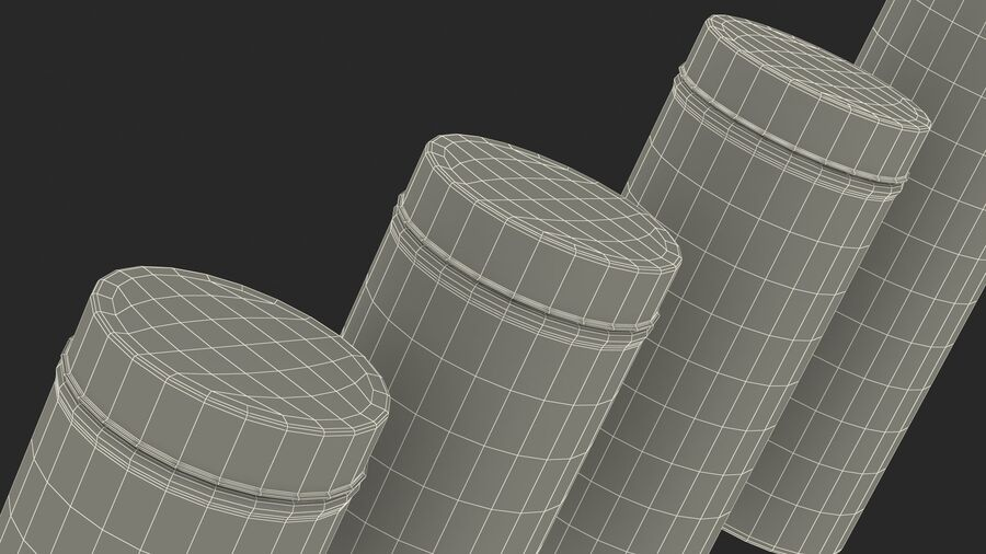Glass Storage Jar with Steel Lid Set royalty-free 3d model - Preview no. 26