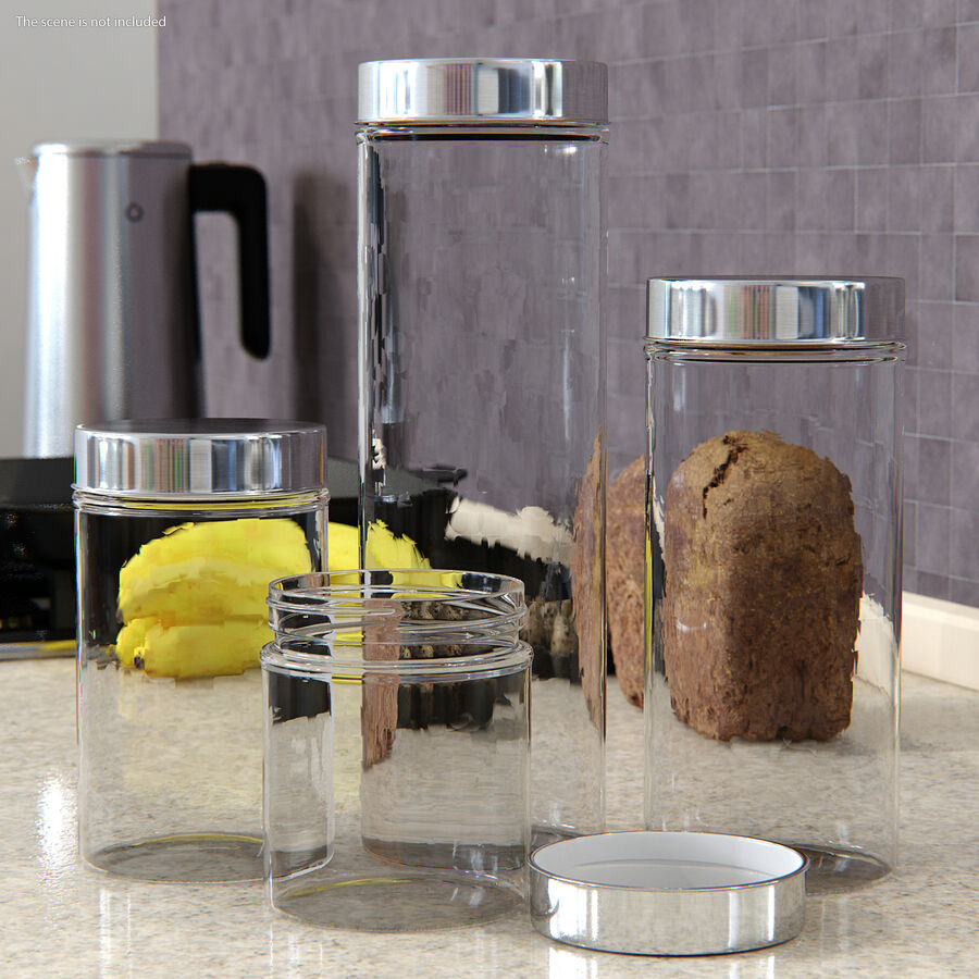 Glass Storage Jar with Steel Lid Set royalty-free 3d model - Preview no. 3