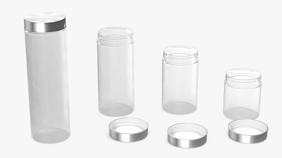 Glass Storage Jar with Steel Lid Set royalty-free 3d model - Preview no. 6