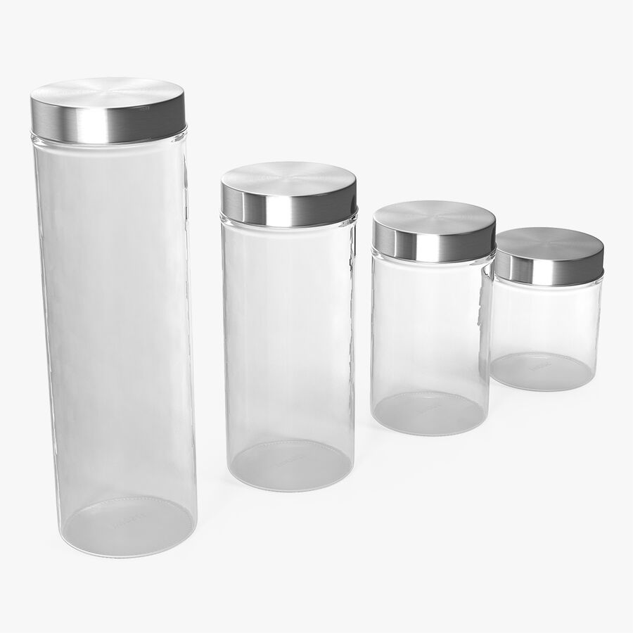 Glass Storage Jar with Steel Lid Set royalty-free 3d model - Preview no. 1