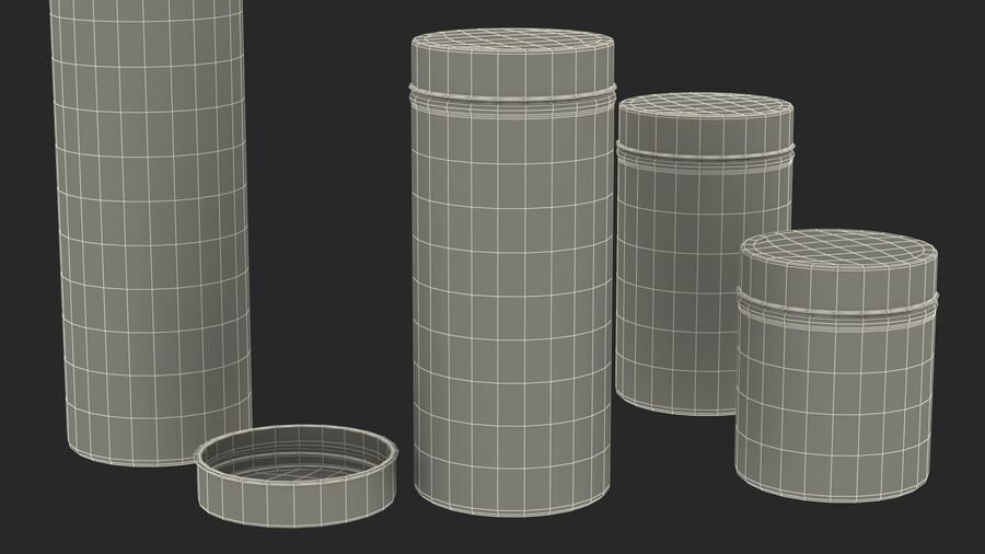 Glass Storage Jar with Steel Lid Set royalty-free 3d model - Preview no. 27