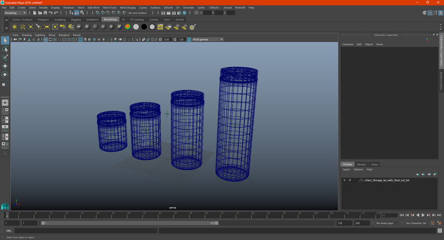 Glass Storage Jar with Steel Lid Set royalty-free 3d model - Preview no. 19