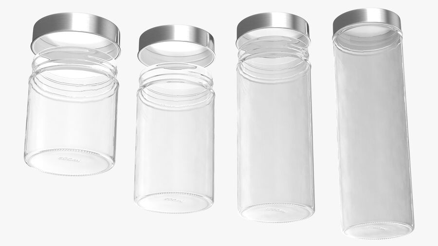 Glass Storage Jar with Steel Lid Set royalty-free 3d model - Preview no. 11