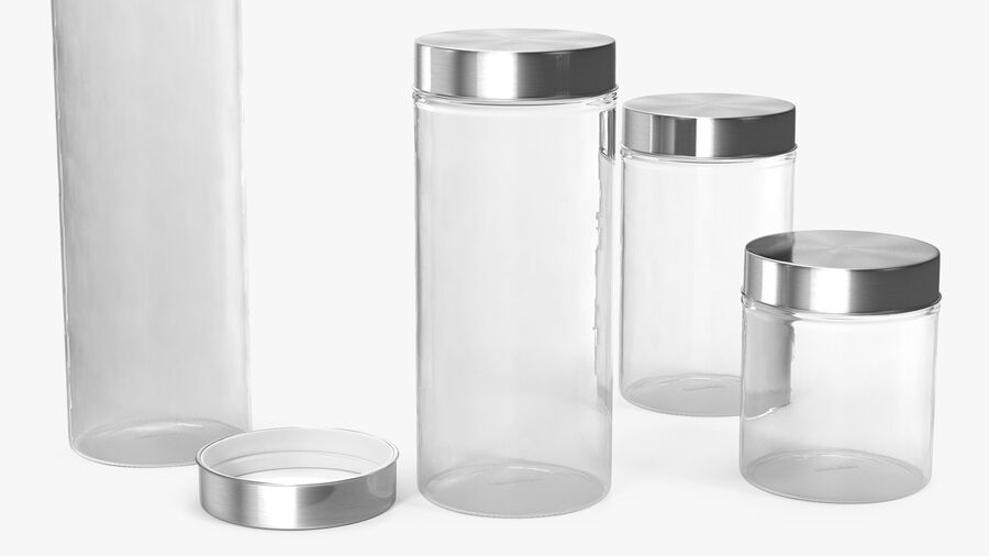 Glass Storage Jar with Steel Lid Set royalty-free 3d model - Preview no. 5