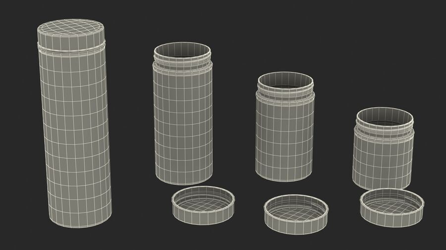 Glass Storage Jar with Steel Lid Set royalty-free 3d model - Preview no. 23
