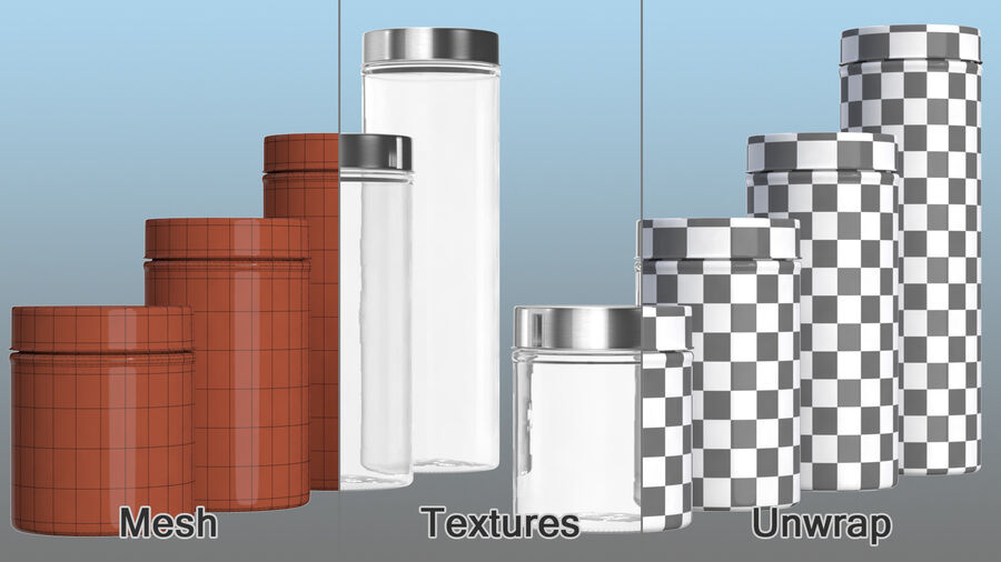 Glass Storage Jar with Steel Lid Set royalty-free 3d model - Preview no. 12