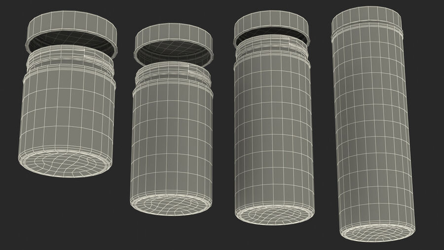 Glass Storage Jar with Steel Lid Set royalty-free 3d model - Preview no. 28