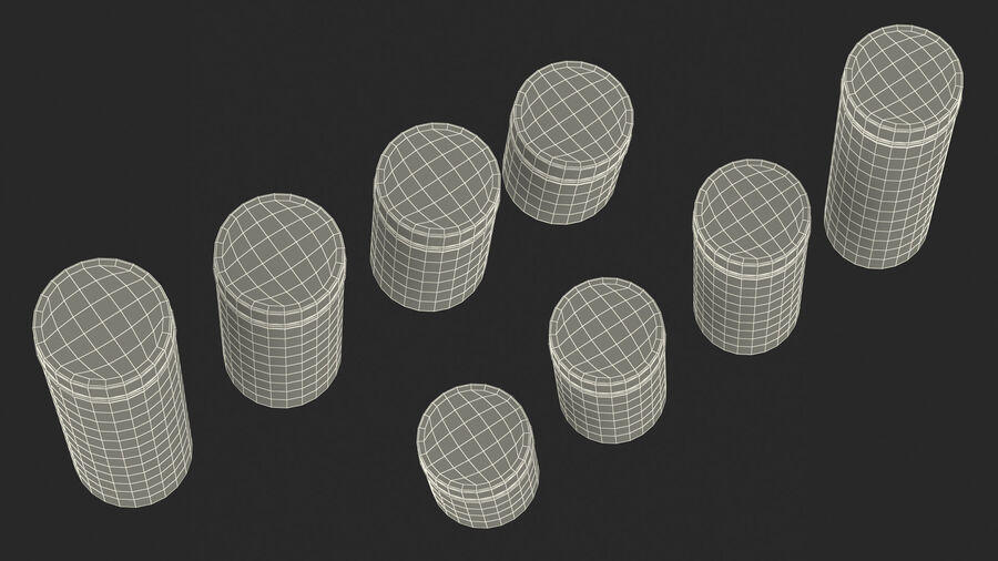 Glass Storage Jar with Steel Lid Set royalty-free 3d model - Preview no. 24