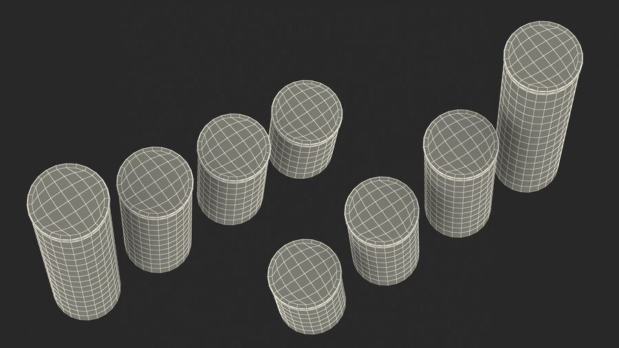 Glass Food Storage Jar with Bamboo Lid Set royalty-free 3d model - Preview no. 24