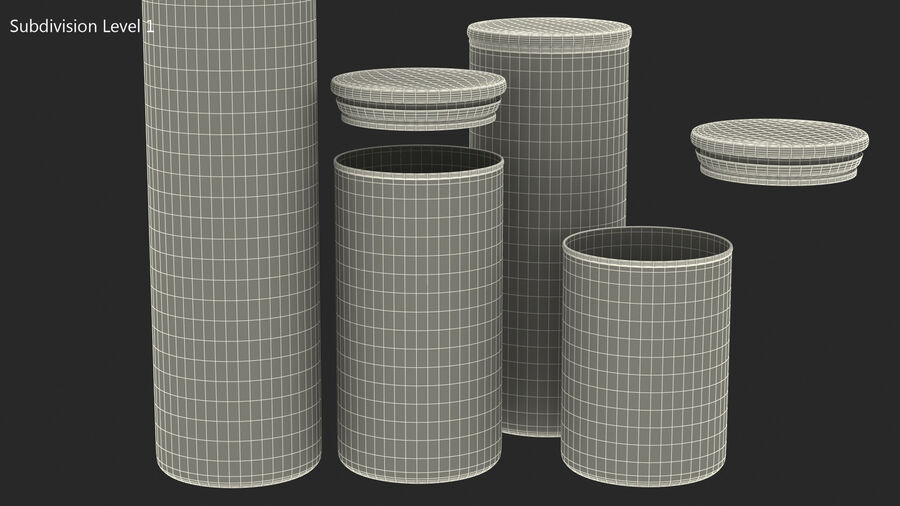 Glass Food Storage Jar with Bamboo Lid Set royalty-free 3d model - Preview no. 14