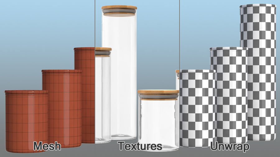 Glass Food Storage Jar with Bamboo Lid Set royalty-free 3d model - Preview no. 12