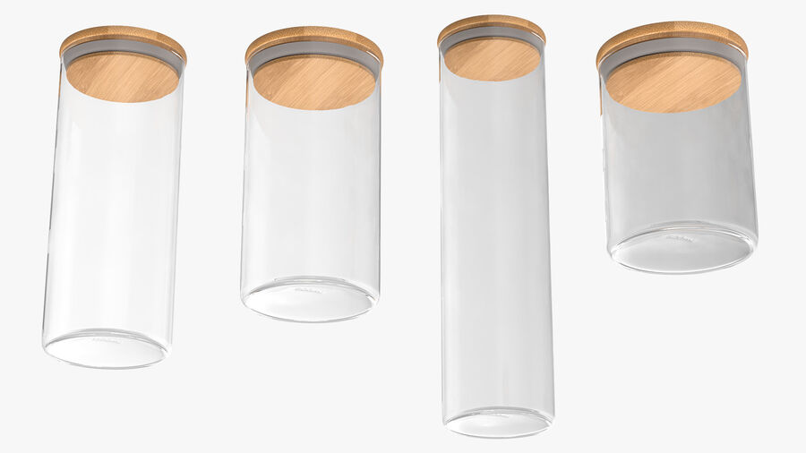 Glass Food Storage Jar with Bamboo Lid Set royalty-free 3d model - Preview no. 11