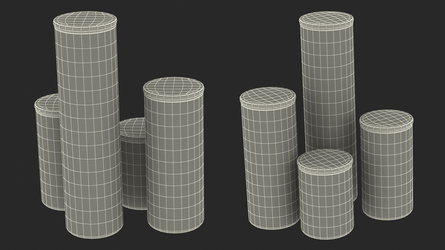 Glass Food Storage Jar with Bamboo Lid Set royalty-free 3d model - Preview no. 23
