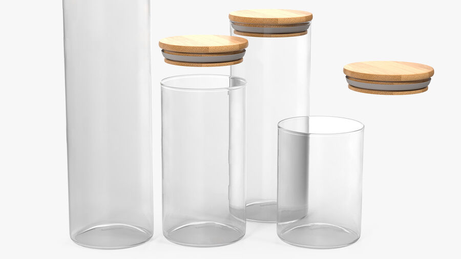 Glass Food Storage Jar with Bamboo Lid Set royalty-free 3d model - Preview no. 6