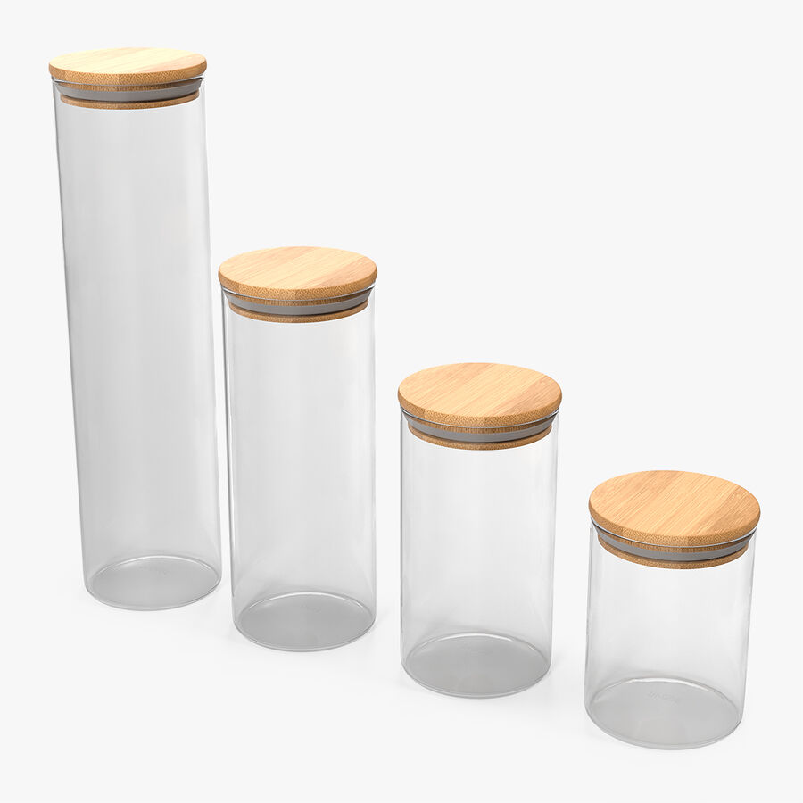 Glass Food Storage Jar with Bamboo Lid Set royalty-free 3d model - Preview no. 1
