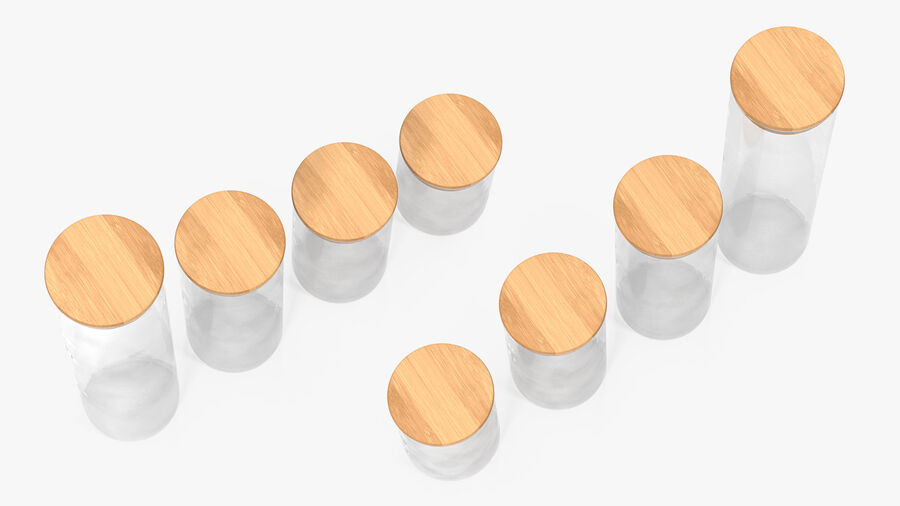 Glass Food Storage Jar with Bamboo Lid Set royalty-free 3d model - Preview no. 8