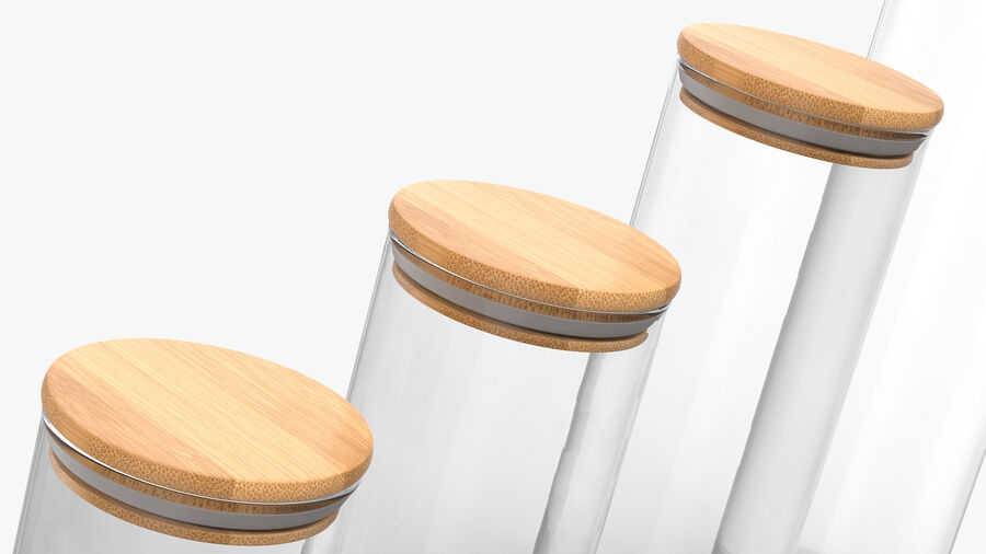 Glass Food Storage Jar with Bamboo Lid Set royalty-free 3d model - Preview no. 9