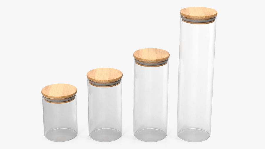 Glass Food Storage Jar with Bamboo Lid Set royalty-free 3d model - Preview no. 2