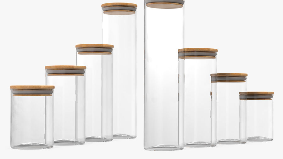 Glass Food Storage Jar with Bamboo Lid Set royalty-free 3d model - Preview no. 7