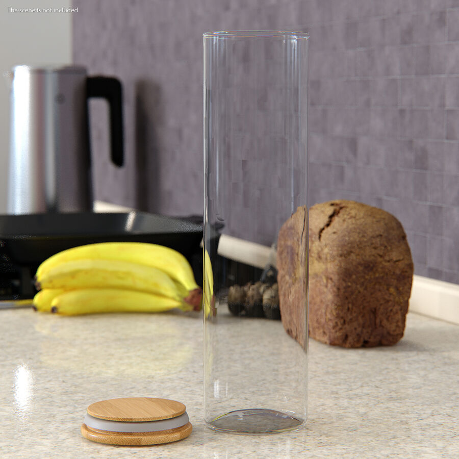 Glass Food Storage Jar with Bamboo Lid Set royalty-free 3d model - Preview no. 4