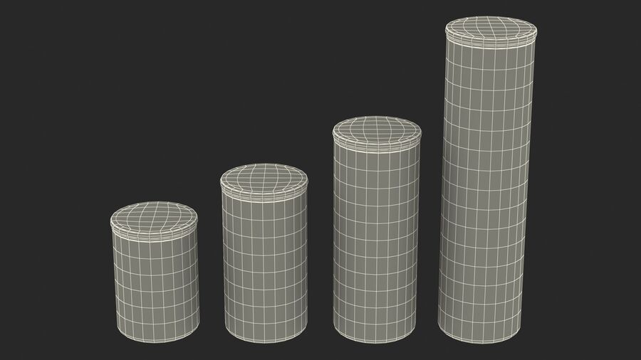 Glass Food Storage Jar with Bamboo Lid Set royalty-free 3d model - Preview no. 22