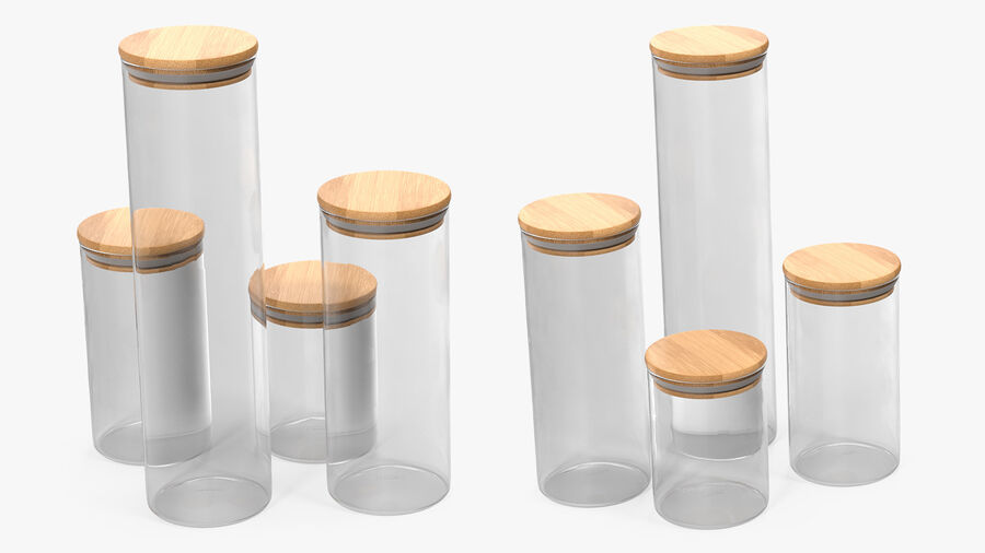 Glass Food Storage Jar with Bamboo Lid Set royalty-free 3d model - Preview no. 5
