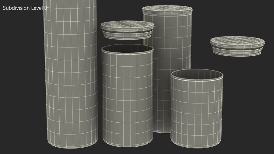 Glass Food Storage Jar with Bamboo Lid Set royalty-free 3d model - Preview no. 13