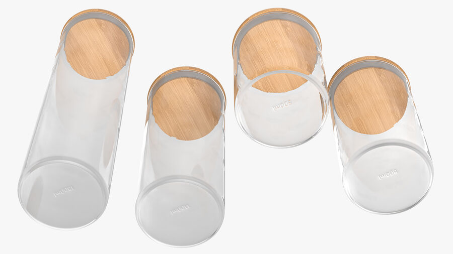 Glass Food Storage Jar with Bamboo Lid Set royalty-free 3d model - Preview no. 10