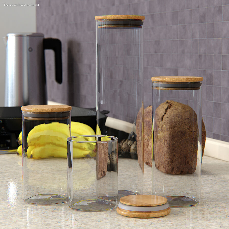 Glass Food Storage Jar with Bamboo Lid Set royalty-free 3d model - Preview no. 3