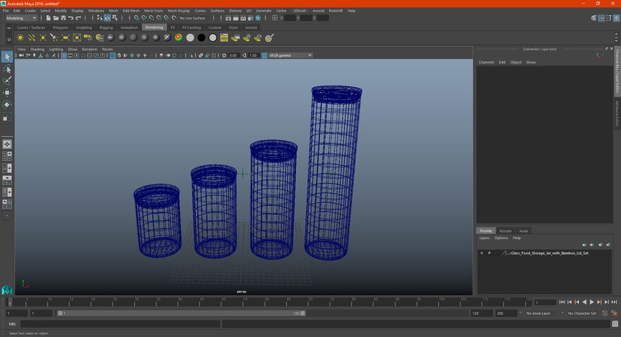 Glass Food Storage Jar with Bamboo Lid Set royalty-free 3d model - Preview no. 19