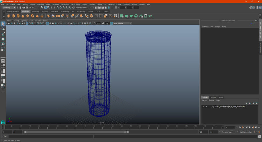 Glass Food Storage Jar with Bamboo Lid royalty-free 3d model - Preview no. 14