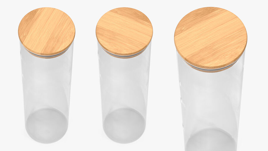Glass Food Storage Jar with Bamboo Lid royalty-free 3d model - Preview no. 6