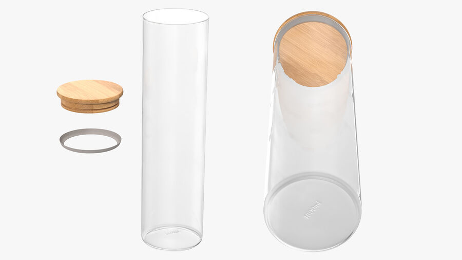 Glass Food Storage Jar with Bamboo Lid royalty-free 3d model - Preview no. 5