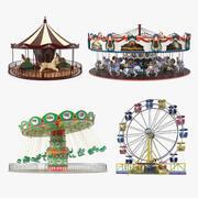 Coleção 2 de passeios em parques de diversões 3d model