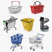 Shoppingkorgar och vagnsamling 3 3d model
