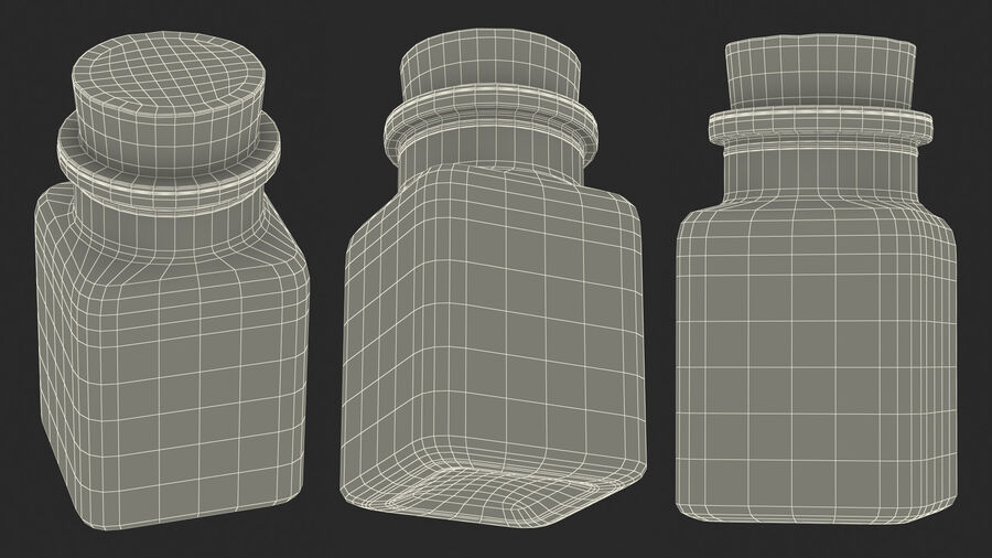 Small Kitchen Storage Jar with Cork Lid royalty-free 3d model - Preview no. 20