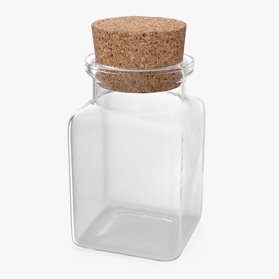 Small Kitchen Storage Jar with Cork Lid royalty-free 3d model - Preview no. 1